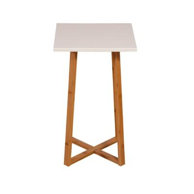 White Solid Bamboo Frame Square Plant Stand