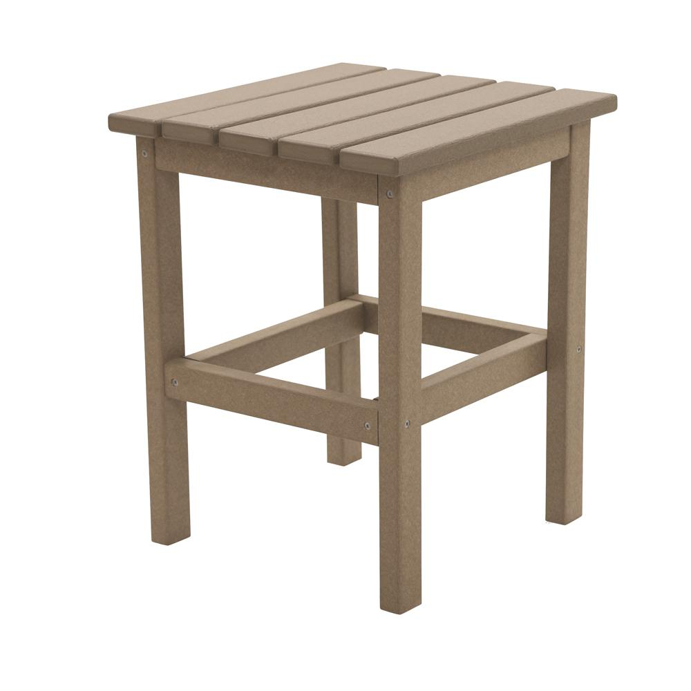 DUROGREEN Icon Weathered Wood Square Plastic Outdoor Side Table