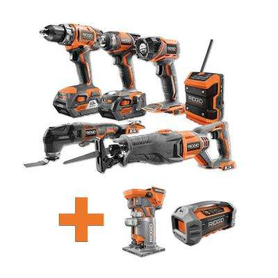 18-Volt Lithium-Ion Cordless Combo Kit (6-Tool) (2) 4Ah Batt and Charger w/Bonus Brushless Trim Router and Jobsite Radio