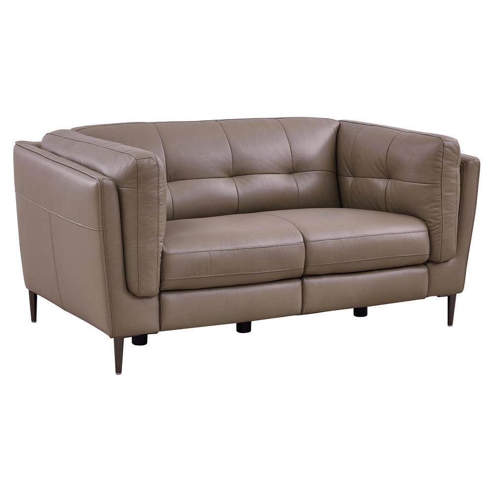 Phenomenal Armen Living Primrose Dark Metal And Greige Genuine Leather Bralicious Painted Fabric Chair Ideas Braliciousco