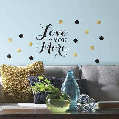 5 in. x 11.5 in. Love You More Quote 64-Piece Peel and : gold wall decals - www.pureclipart.com
