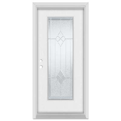 36 in. x 80 in. Geometric Right-Hand Zinc Finished Fiberglass Mahogany Woodgrain Prehung Front Door Brickmould