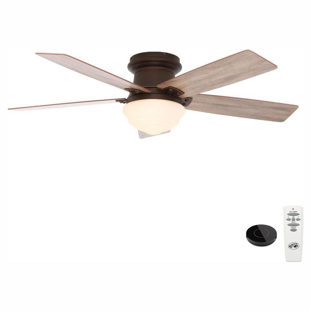 Hampton Bay Maxwell 52 in. LED Mediterranean Bronze Ceiling Fan with Light Kit Works with Google Assistant and Alexa