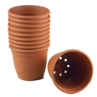 5.5 in. Dia Decorative Plastic Pot Terra Cotta (10 Pack)