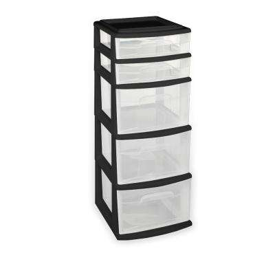 5 Drawer Polypropylene Medium Cart