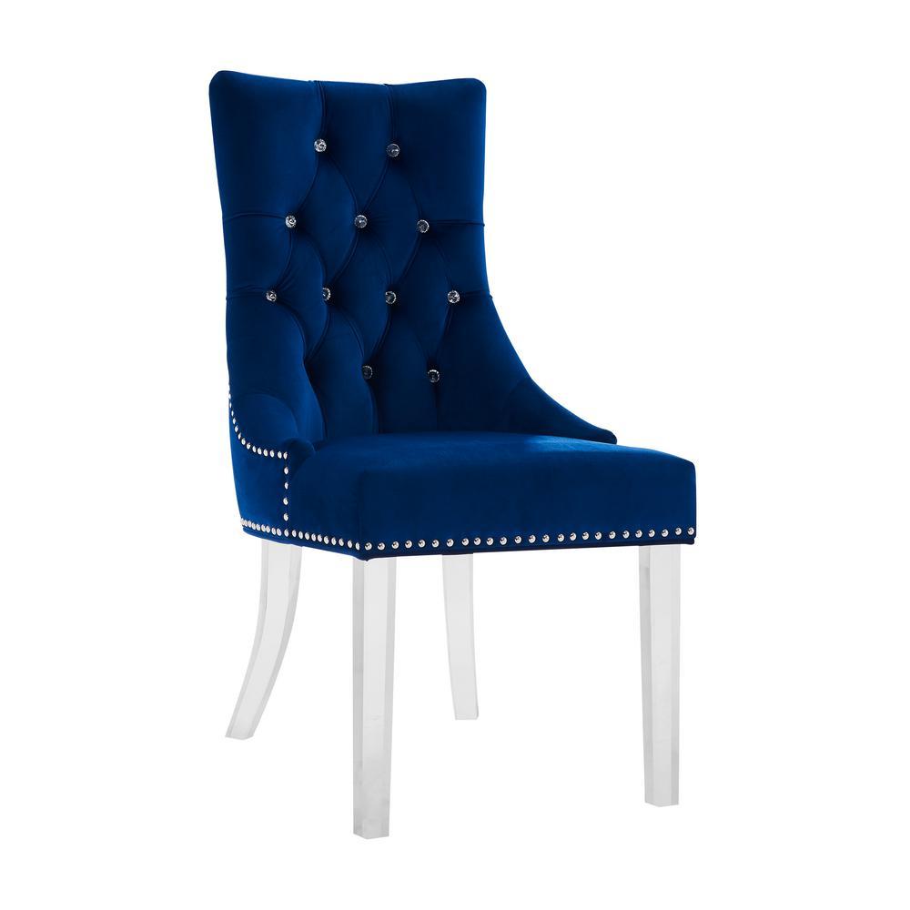 Troy Blue Velvet Dining Chair