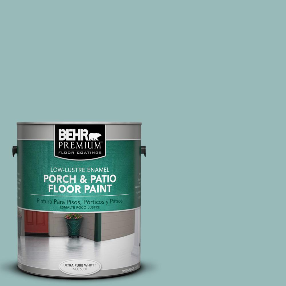 Behr Premium 1 Gal Ppu12 06 Lap Pool Blue Low Lustre Enamel Interior Exterior Porch And Patio Floor Paint 605001 The Home Depot