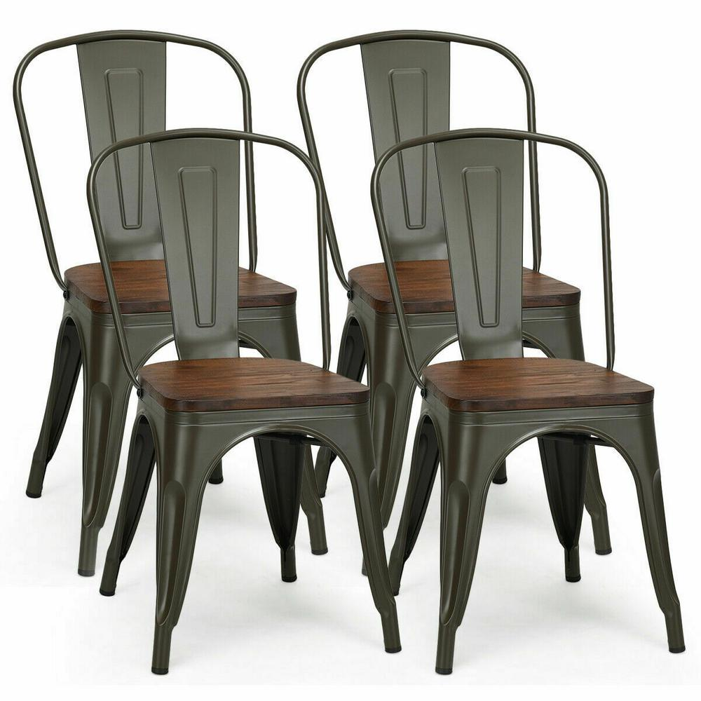 Costway Tolix Style Gun Metal Dining Side Chair Wood Seat Stackable Bistro Cafe New Set Of 4 Hw58611gu The Home Depot