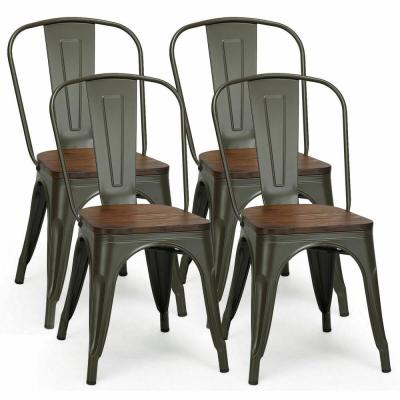 Tolix Style Gun Metal Dining Side Chair Wood Seat Stackable Bistro Cafe New (Set of 4)