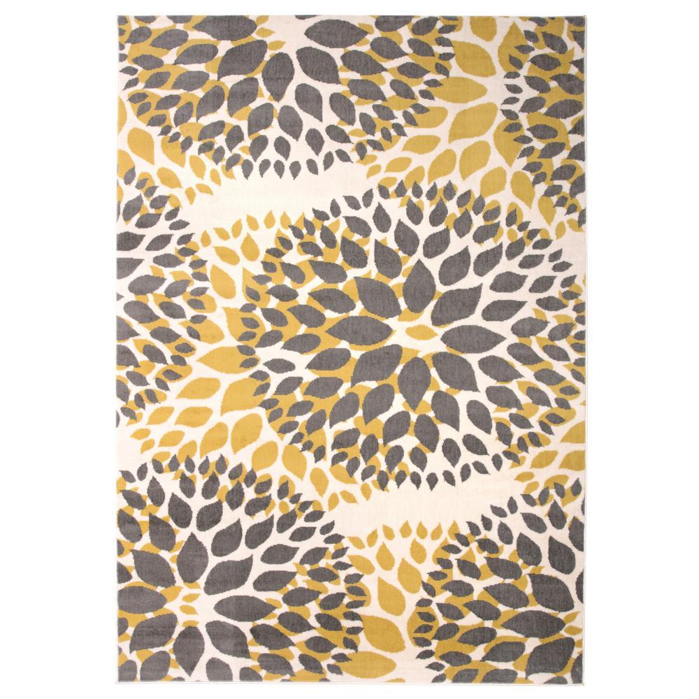 "Modern Floral Design Yellow Indoor Area Rug 7'6""x9'5"""