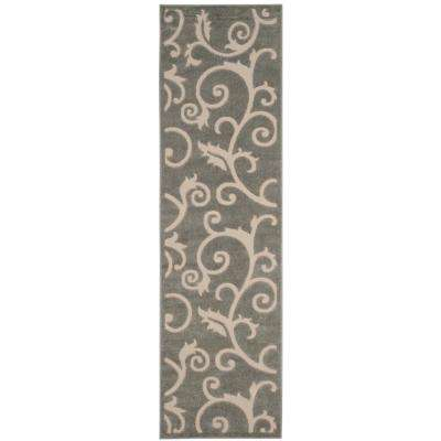 Cottage Gray/Cream 2 ft. x 8 ft. Indoor/Outdoor Runner Rug