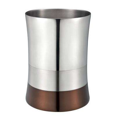 5 l Shiny Matte Colorblock Bottom Waste Basket in Bronze