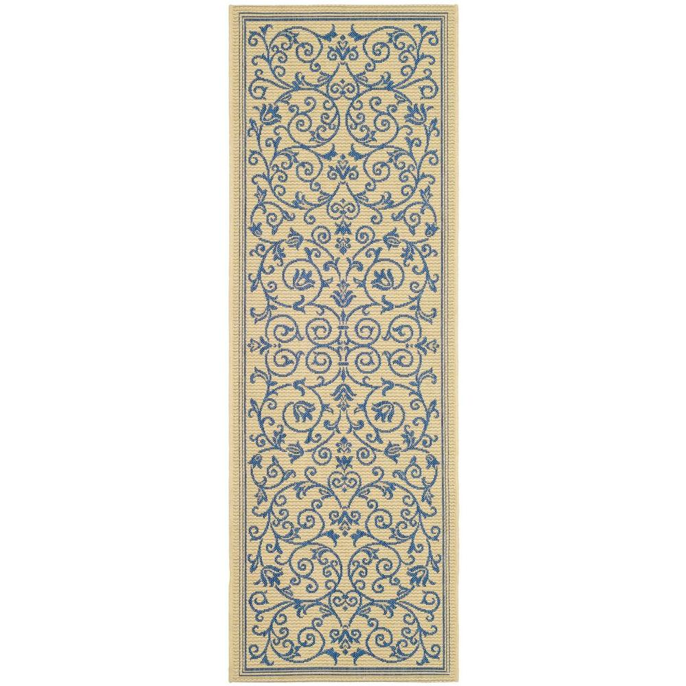Safavieh Courtyard Natural/Blue 2 ft. 3 in. x 6 ft. 7 in. Indoor ...
