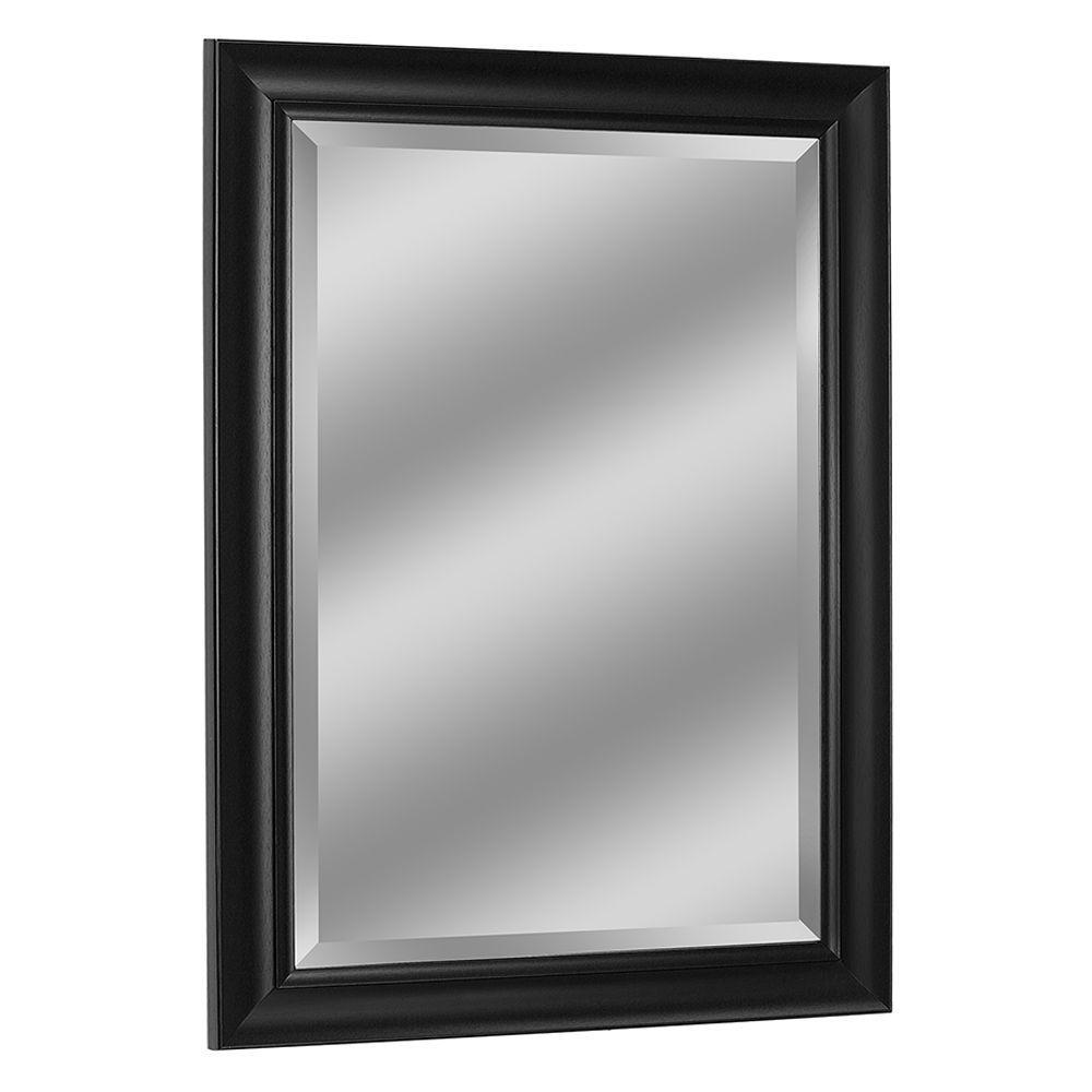 31 in. W x 43 in. H Framed Rectangular Beveled Edge Bathroom Vanity Mirror in Black