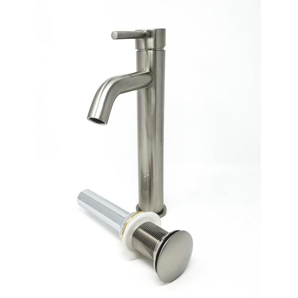 Modern Euro Single Hole Single Handle Vessel Bathroom Faucet with Drain in Brushed Nickel