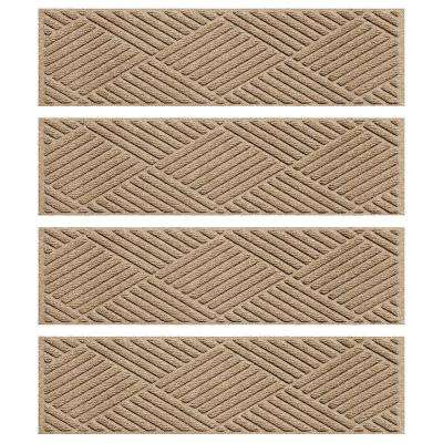 Khaki 8.5 in. x 30 in. Diamonds Stair Tread Cover (Set of 4)