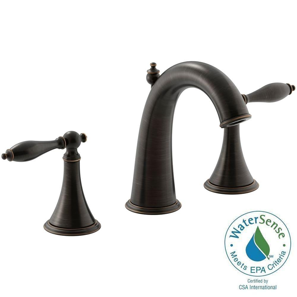 KOHLER Finial Traditional 8 in. Widespread 2-Handle Mid-Arc Bathroom Faucet in Oil-Rubbed Bronze