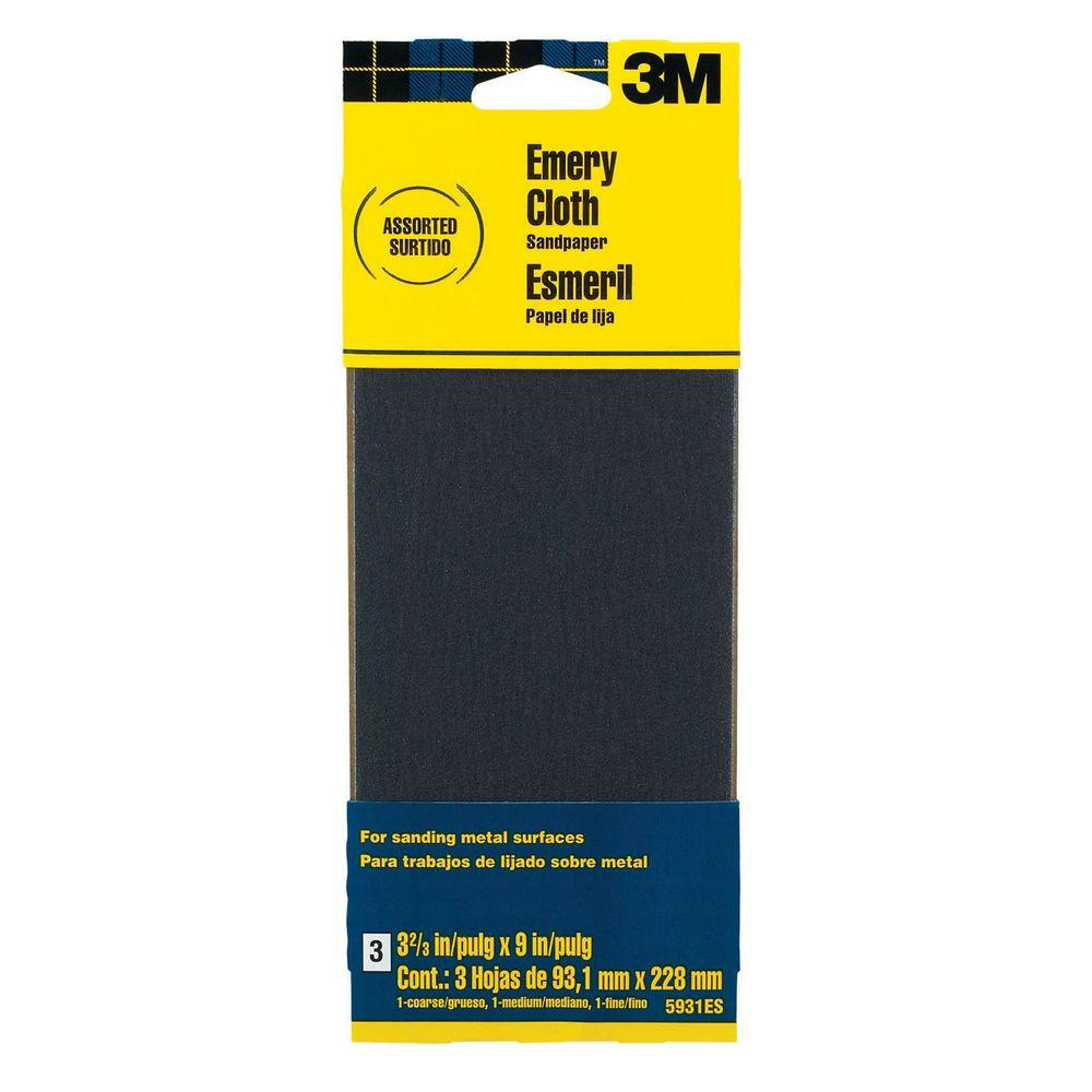 Sandpaper For Metal >> 3m 3 66 In X 9 In Coarse Medium And Fine Grit Emery Cloth Sandpaper 3 Sheets Pack