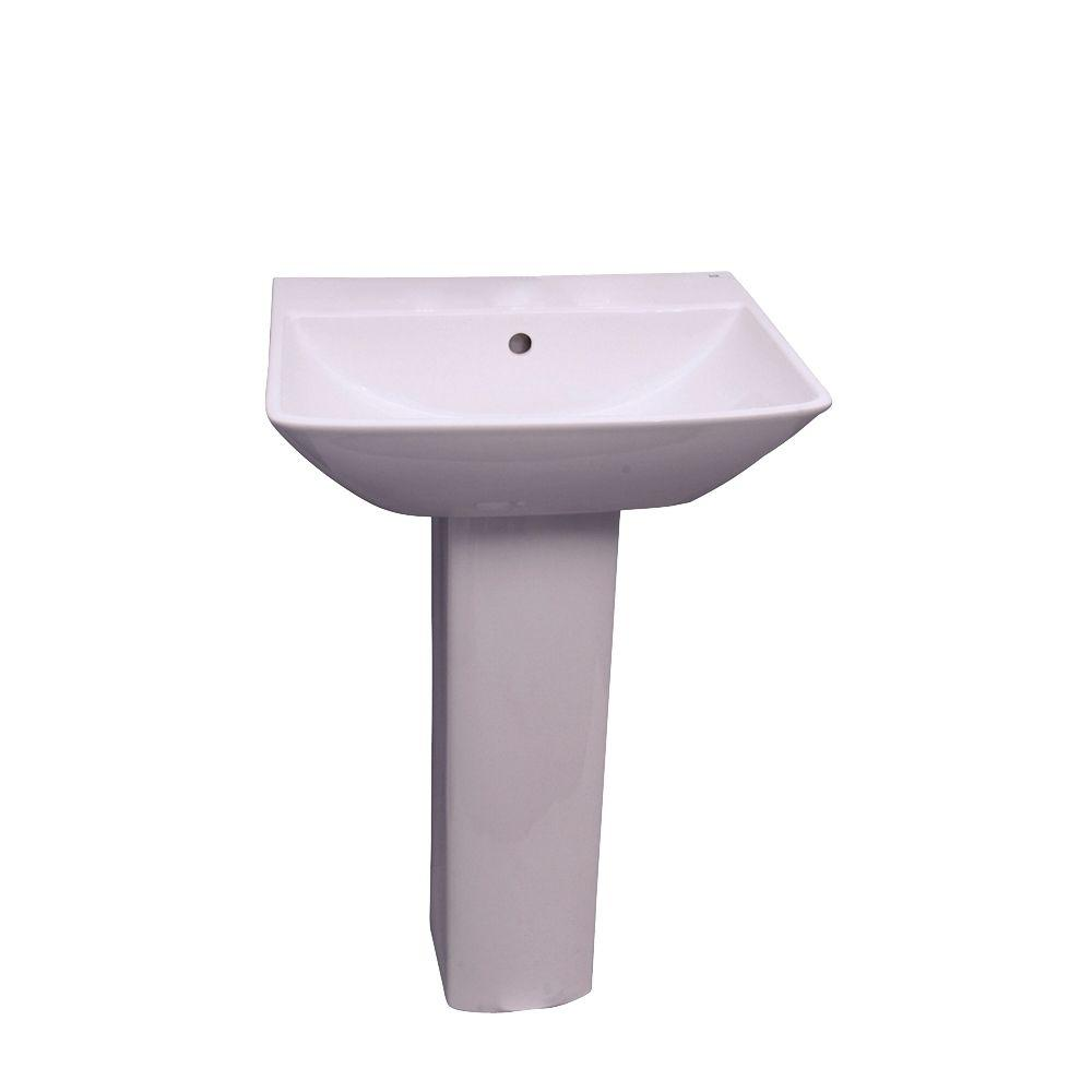 Barclay Products Summit 600 Pedestal Combo Bathroom Sink in White