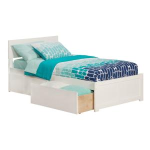 Orlando White Twin XL Platform Bed with Flat Panel Foot Board and 2 Urban Bed Drawers