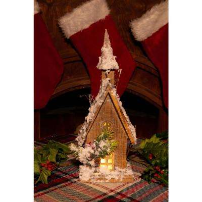 14 in. Christmas Wooden House with 10-LED Lights