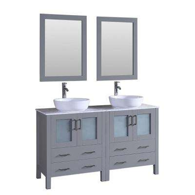 Bosconi 59.1 in. Double Vanity in Gray with Vanity Top with White Basin and Mirror