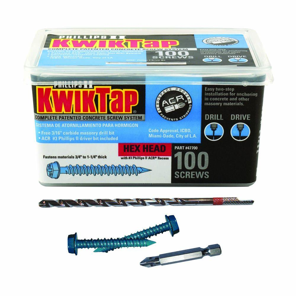 KwikTap 1/4 in. x 1-3/4 in. Hex-Head Concrete Screws (100 per Pack)