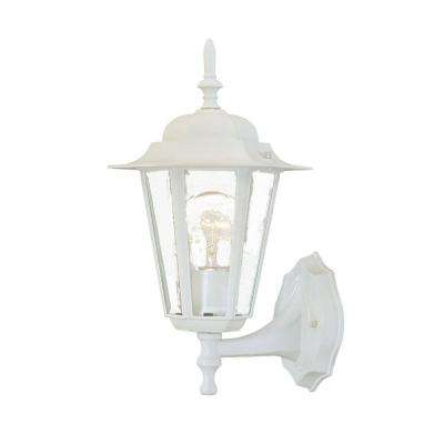 Camelot Collection 1-Light Textured White Outdoor Wall-Mount Fixture