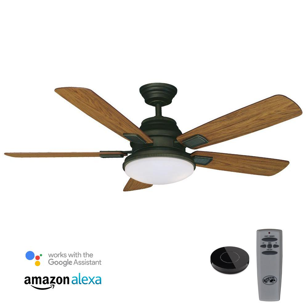 Latham 52 in. LED Oil Rubbed Bronze Ceiling Fan with Light