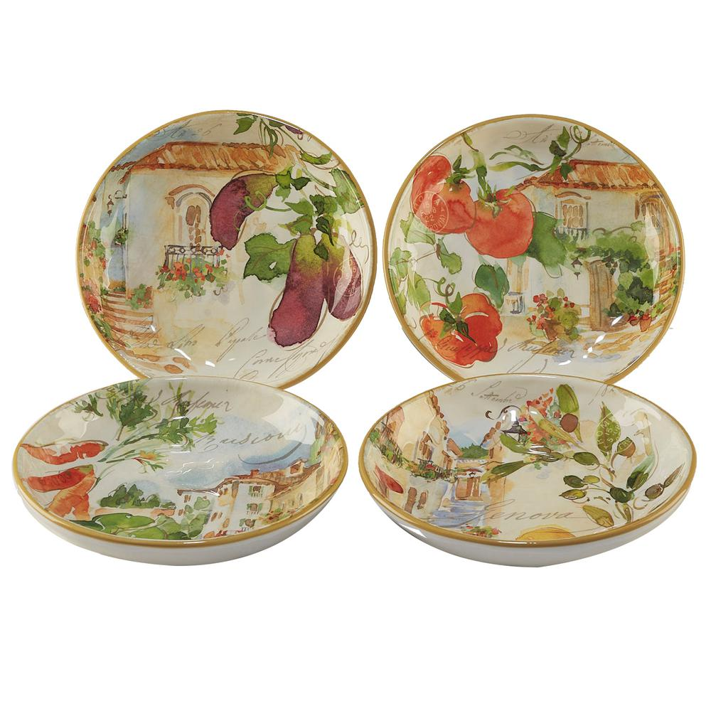 Piazzette 4-Piece Multi-Colored 9.25 in. x 2 in. Soup/Pasta Bowl Set