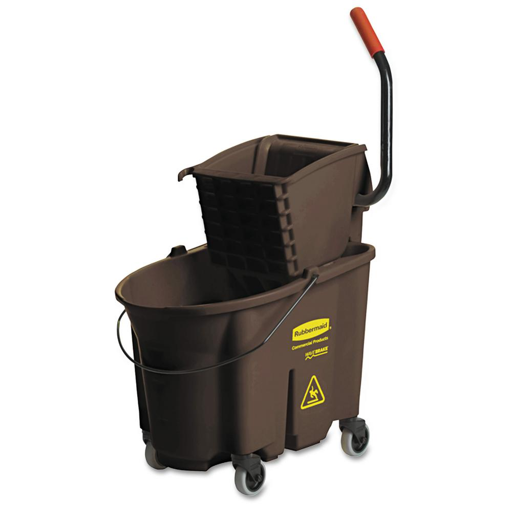Rubbermaid Commercial Products Wave Brake 35 Qt. Brown Side-Press Combo Mop Bucket and Wringer System