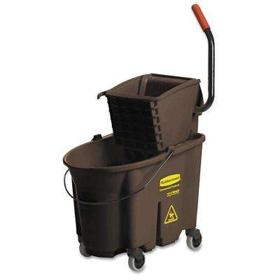 Wave Brake 35 Qt. Brown Side-Press Combo Mop Bucket and Wringer System