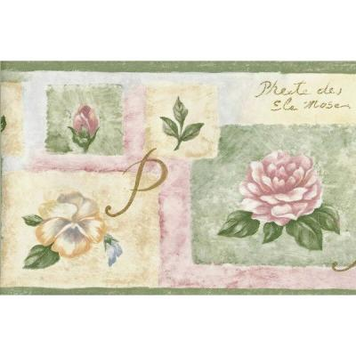 Falkirk Brin Flowers Green, Pink, Yellow Wallpaper Border