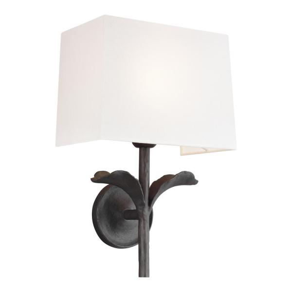 ED Ellen DeGeneres Crafted by Generation Lighting Georgia 1-Light 11 in. Aged Iron Sconce with White Linen Shade