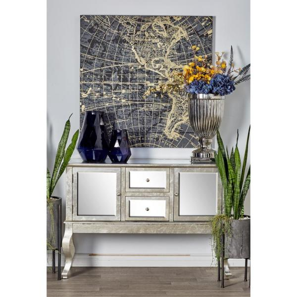 Litton Lane Gray Mirror-Paneled Wooden Sideboard with 2-Doors and 3-Drawers