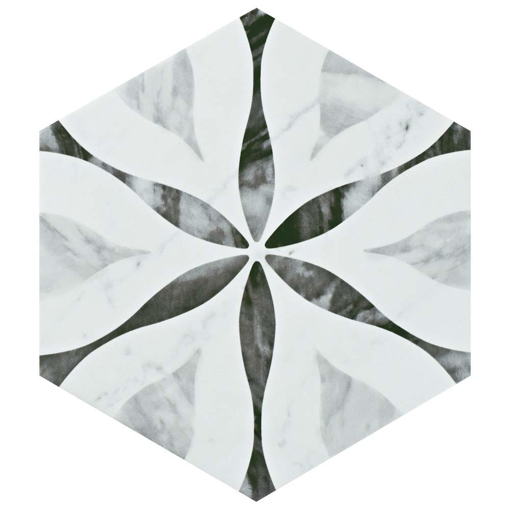 Classico Bardiglio Hexagon Flower 7 in. x 8 in. Porcelain Floor