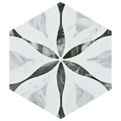 Classico Bardiglio Hexagon Flower 7 in. x 8 in. Porcelain Floor and Wall Tile (11 sq. ft. / case)