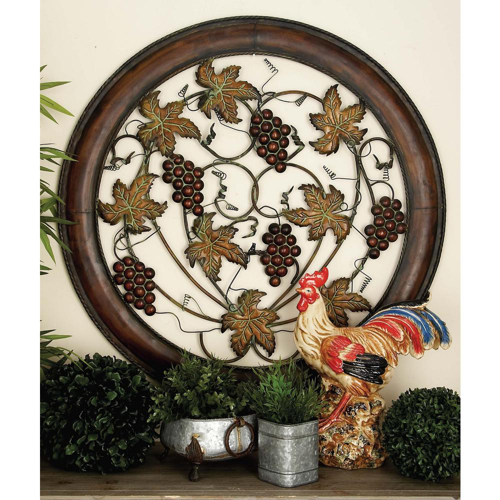 40 in. Traditional Rustic Cherry Wood Brown Iron Wall Decor