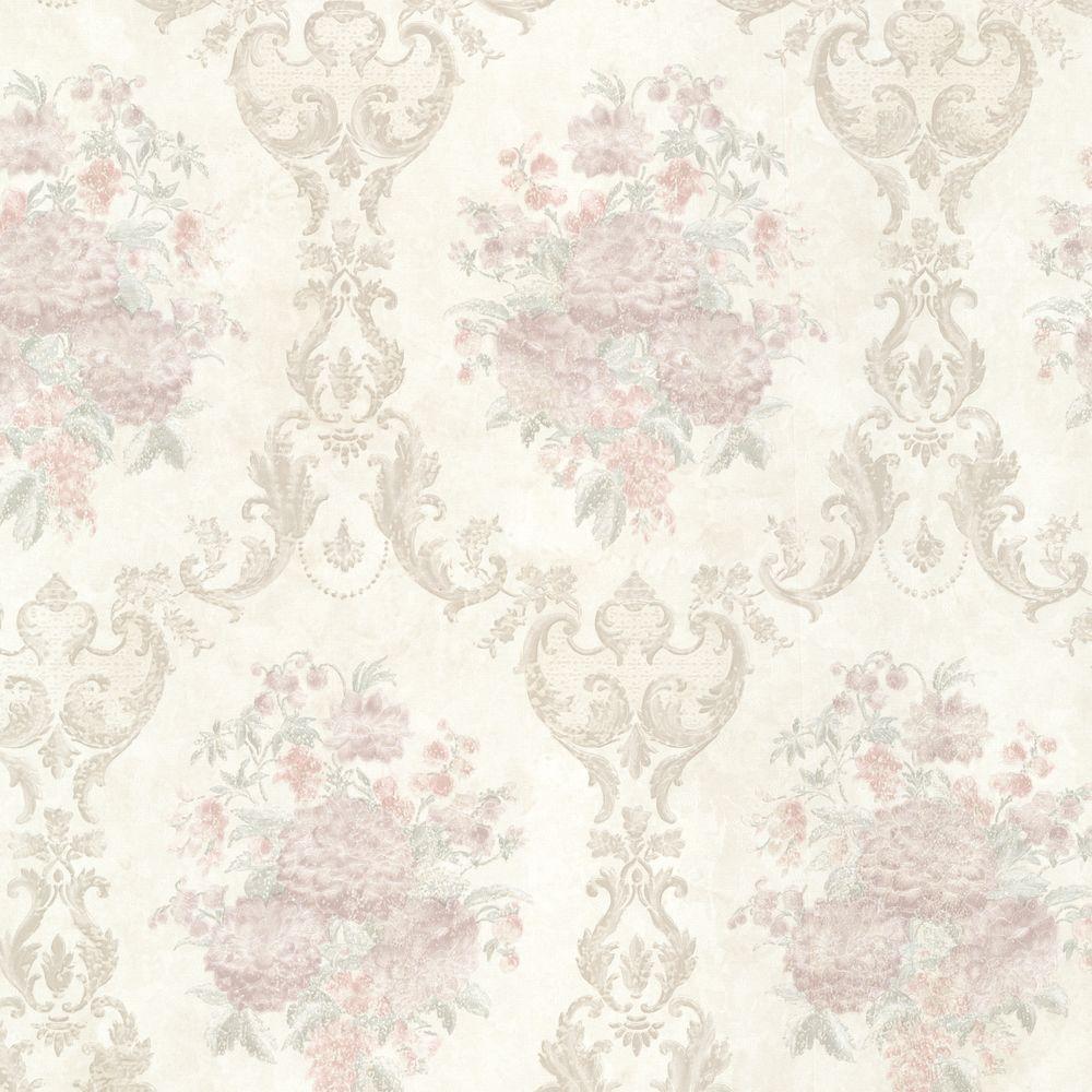 Dutchess Brass Floral Damask Wallpaper
