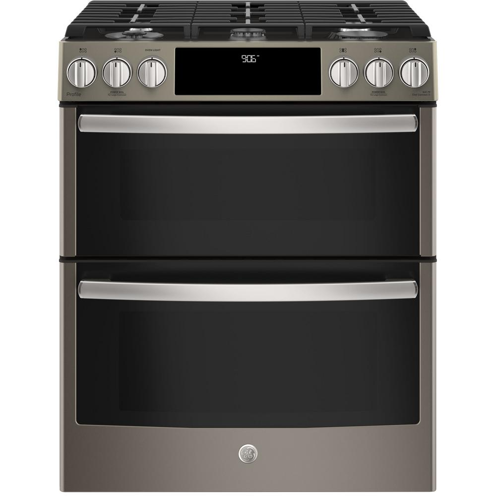 GE Profile 6.7 cu. ft. Slide-In Smart Gas Range with Self-Cleaning Double Oven and WiFi in Slate (Grey), Fingerprint Resistant
