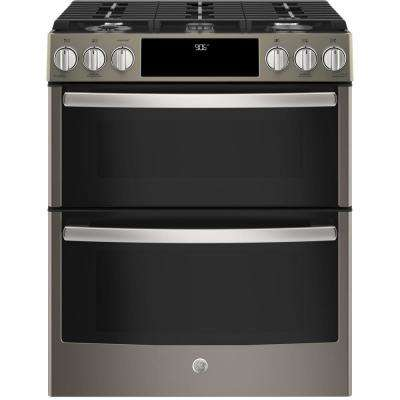 6.7 cu. ft. Slide-In Smart Gas Range with Self-Cleaning Double Oven and WiFi in Slate