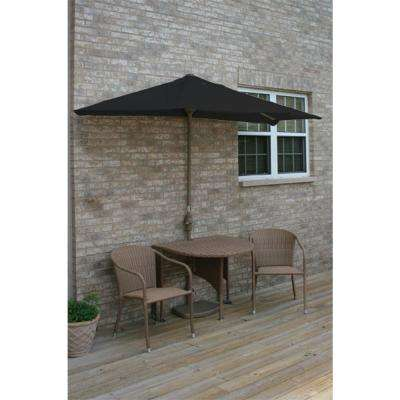Terrace Mates Adena 5-Piece Coffee Patio Bistro Set with 7.5 ft. Black Sunbrella Half-Umbrella