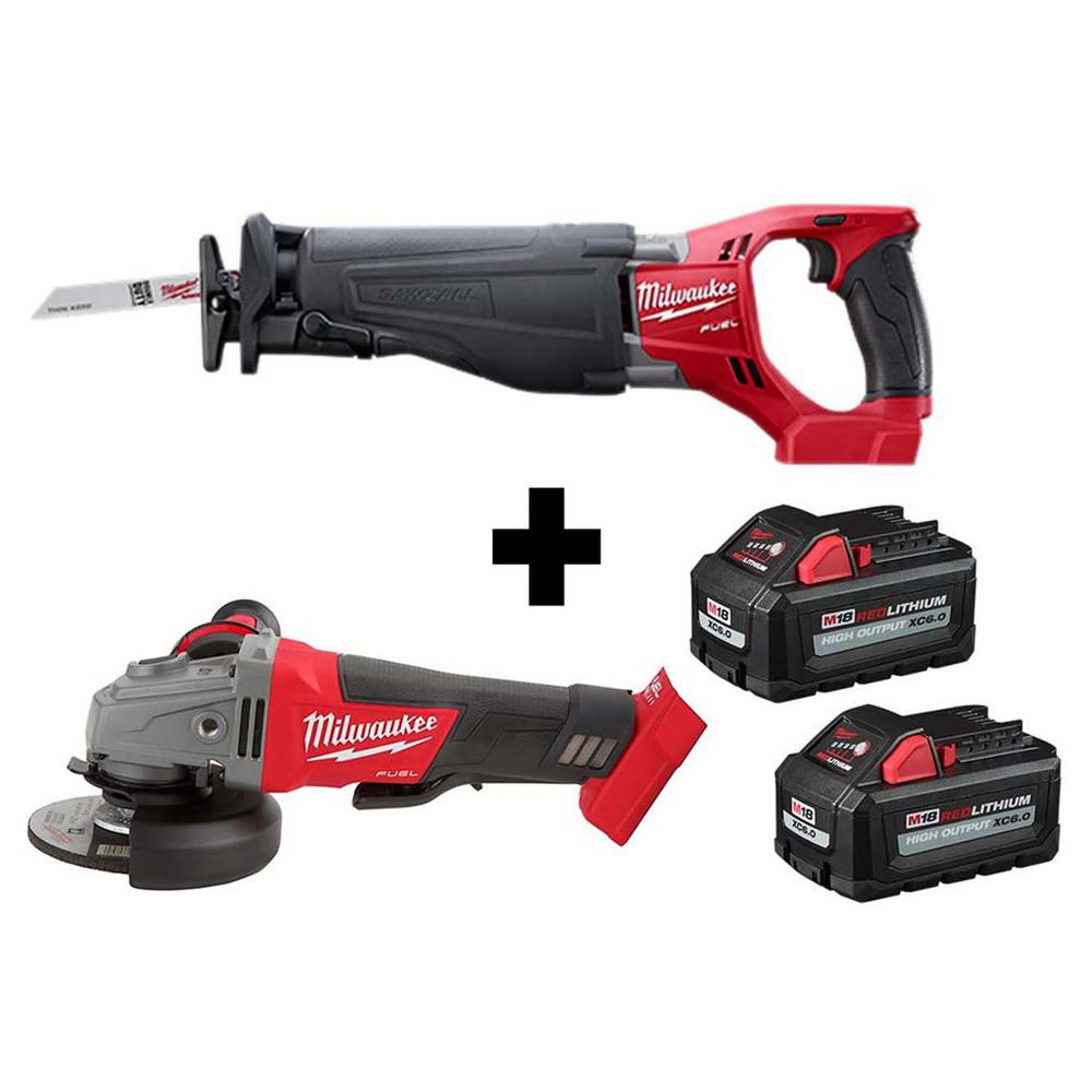 Milwaukee M18 FUEL 18-Volt 4-1/2 in./5 in. Lithium-Ion Brushless Cordless Grinder w/ Reciprocating Saw and 2 Batteries