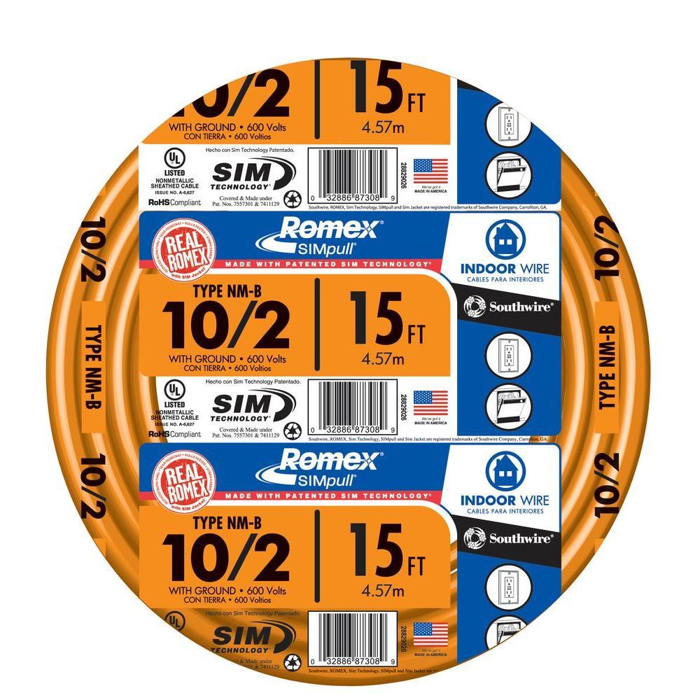 15 ft. 10/2 Solid Romex SIMpull CU NM-B W/G Wire