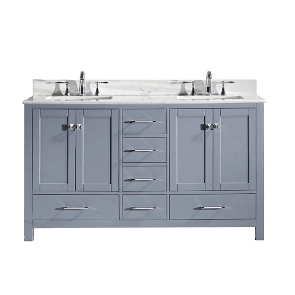 Virtu Usa Caroline Avenue 60 In W Bath Vanity In Gray