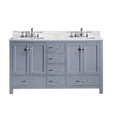 Caroline Avenue 60 in. W x 22 in. D Double Vanity in Gray with Marble Vanity Top in White with White Basin