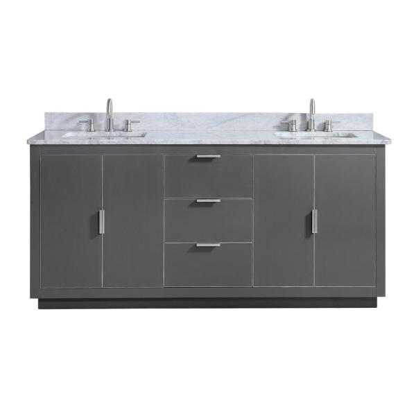 Austen 73 in. W x 22 in. D Bath Vanity in Gray with Silver Trim with Marble Vanity Top in Carrara White with Basins
