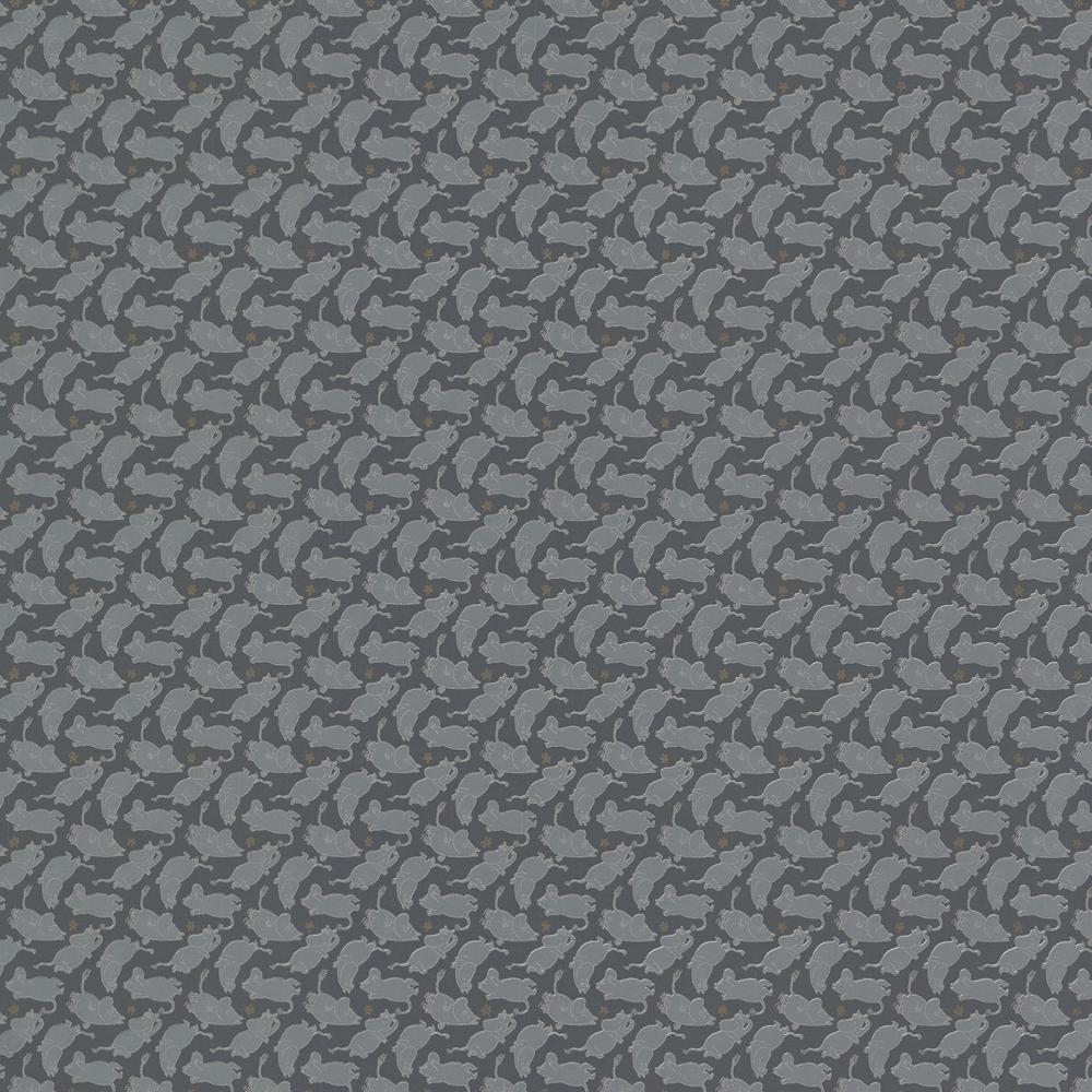 Moomintroll Dark Grey Novelty Wallpaper Sample