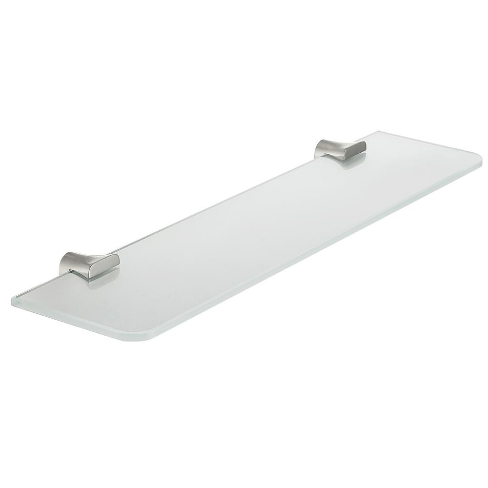 Essence Series 5.19 in. Glass Shelf in Brushed Nickel