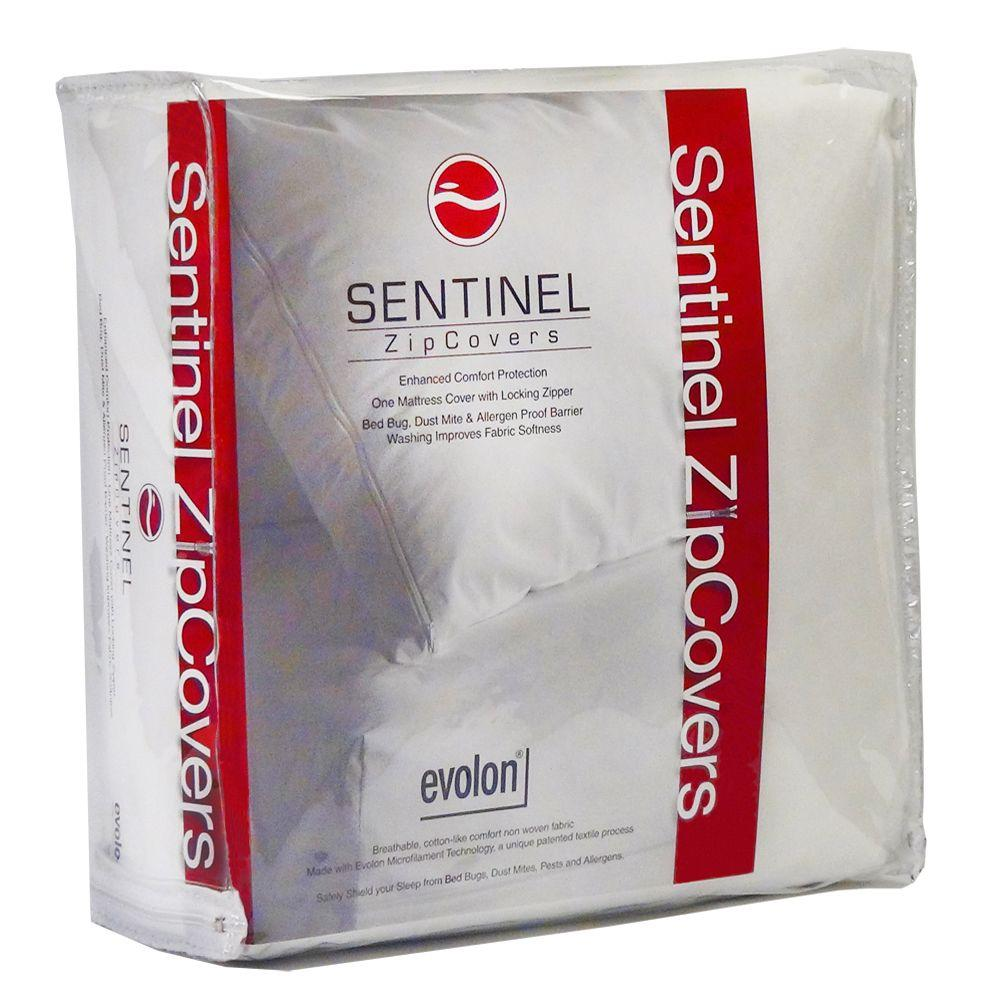 Sentinel Queen 15 in. Evolon Bed Bug, Dust Mite and Allergen Proof Allergy Mattress Protector and Zip Cover Encasement